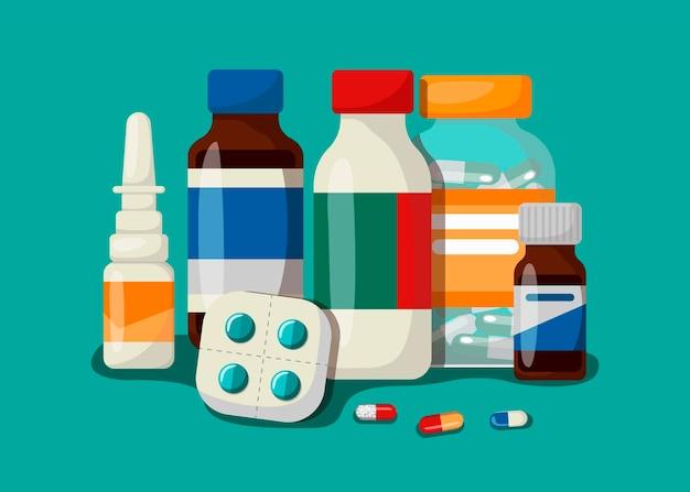 Geneeskunde, apotheek, ziekenhuis set medicijnen met labels. het concept van medische onderwerpen. vectorillustratie in cartoon-stijl.