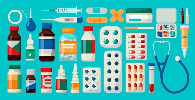 Geneeskunde, apotheek, ziekenhuis set medicijnen met labels Premium Vector