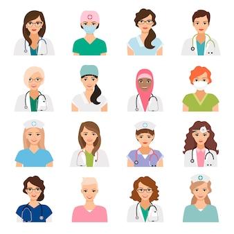 Geneeskunde avatars met vrouwelijke artsen en verpleegsters vector geïsoleerde pictogrammen die worden geplaatst