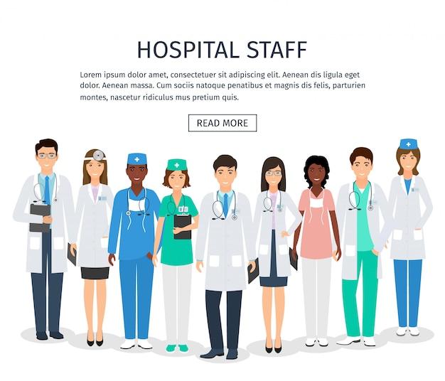 Geneeskunde banner met medische mensen staan samen in uniform en verschillende poses.