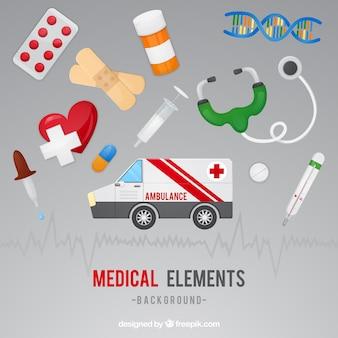 Geneeskunde elementen achtergrond in vlakke stijl