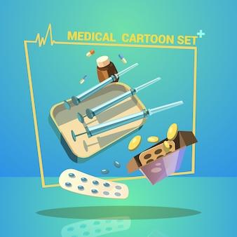 Geneeskunde en behandelingsbeeldverhaal met pillencapsules en spuiten wordt geplaatst die