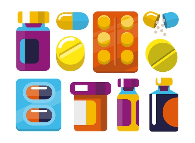 Geneeskunde en drugs vlakke stijl.