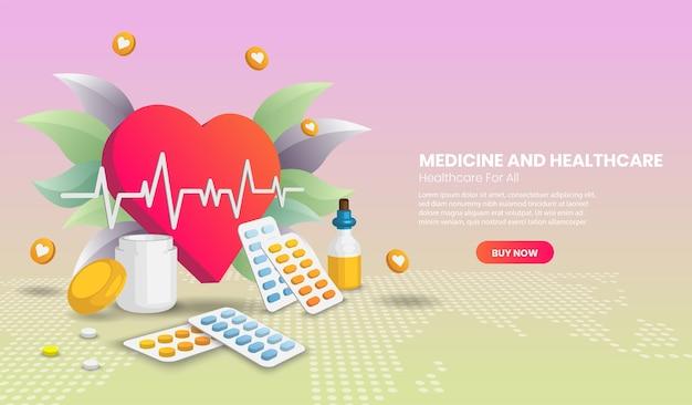 Geneeskunde en gezondheidszorg concept met gigantisch hart. ziekenhuisapparatuur en gereedschapsbanner.