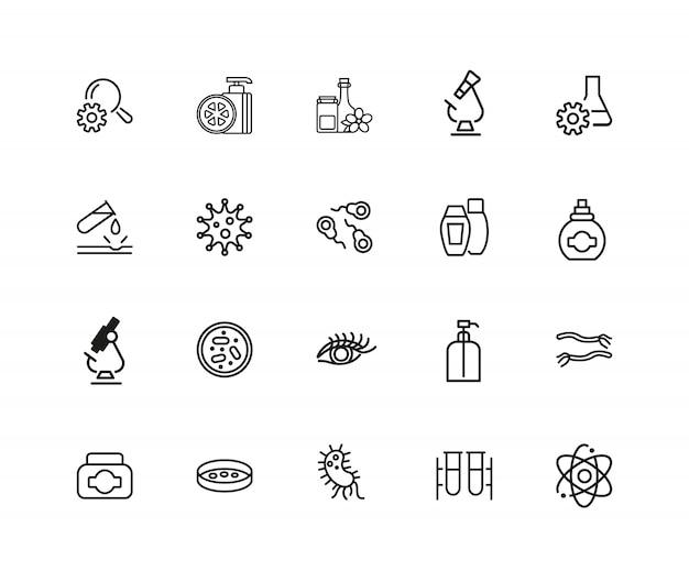Geneeskunde en gezondheidszorg pictogrammen. set van twintig lijn pictogrammen. bacteriën, corrosie, microscoop.