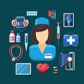 Geneeskunde en gezondheidszorg. tonometer en röntgenstralen, pulsometer, stethoscoop en spuit.