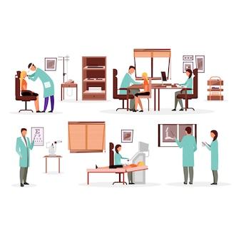 Geneeskunde en gezondheidszorg werknemers platte illustraties set.
