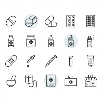 Geneeskunde gerelateerde pictogram en symbool in overzicht