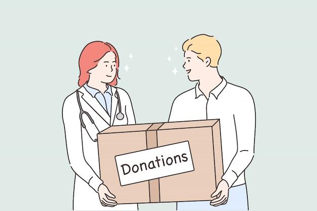 Geneeskunde, gezondheid, hulp ondersteunen, donatieconcept