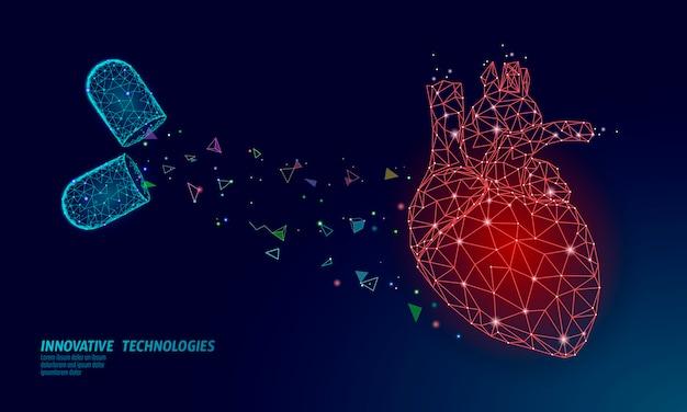 Geneeskunde hart geneeskunde behandeling. menselijke gezondheidsdiagnostiek vasculaire orgaansysteem pil vitamines. cardiologie hart beschermen concept. laag poly