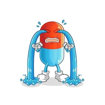 Geneeskunde huilende cartoon mascotte
