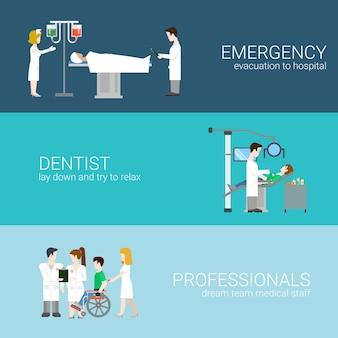 Geneeskunde infographic elementen met medisch personeel en patiënten behandeling en onderzoek platte concept illustratie op blauwe achtergrond ziekenhuisprofessionals. nood tandarts professionals.