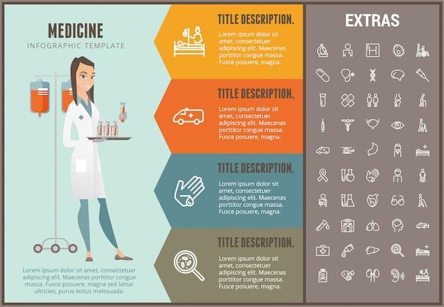 Geneeskunde infographic sjabloon, elementen en pictogrammen