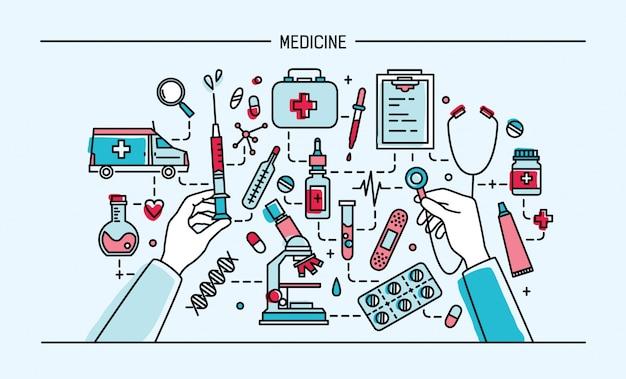 Geneeskunde lineart banner. kleurrijke illustratie