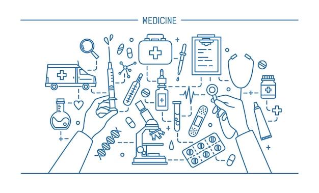 Geneeskunde lineart illustratie