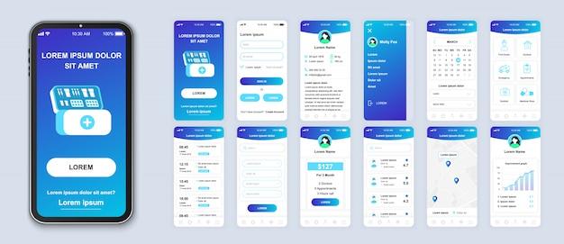 Geneeskunde mobiele app pack van ui, ux, gui schermen voor toepassing