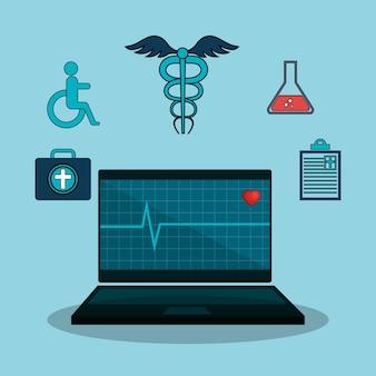 Geneeskunde online plat pictogrammen