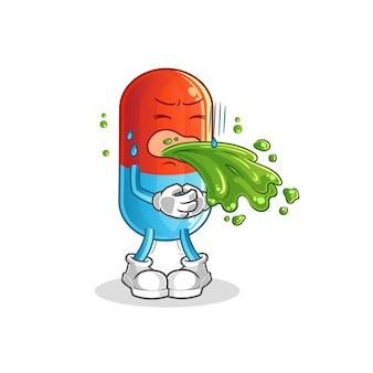Geneeskunde overgeven cartoon mascotte