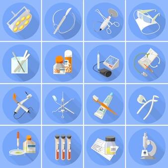 Geneeskunde pictogrammen instellen plat