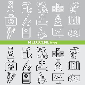 Geneeskunde pictogrammen. lineaire set.