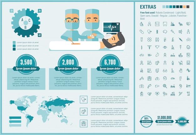 Geneeskunde platte ontwerp infographic sjabloon en pictogrammen instellen