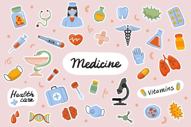 Geneeskunde schattige stickers sjabloon scrapbooking elementen instellen