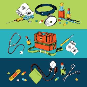 Geneeskunde schets elementen samenstelling kleur ingesteld