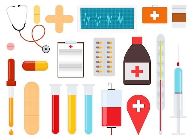 Geneeskunde set vector ontwerp illustratie geïsoleerd op een witte achtergrond