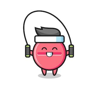 Geneeskunde tablet karakter cartoon met springtouw, schattig design