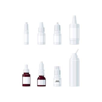 Geneeskunde vector concept. oogdruppels en neussprays in vlakke stijl
