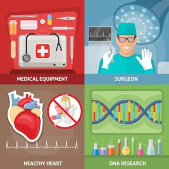 Geneeskunde vlakke composities met professionele apparatuur chirurg op werkplek gezond hart dna-onderzoek geïsoleerde vectorillustratie