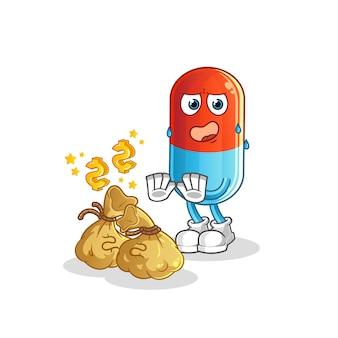 Geneeskunde weigeren geld illustratie. karakter