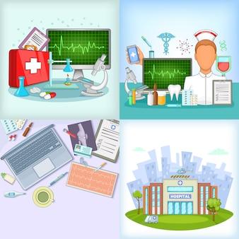 Geneeskundebanner in beeldverhaalstijl wordt geplaatst voor om het even welk ontwerp dat