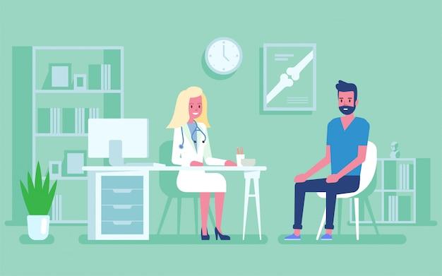 Geneeskundeconcept met een arts en een patiënt in het ziekenhuis medisch bureau. overleg en diagnose