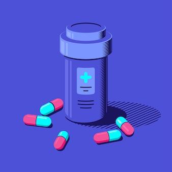 Geneeskundefles en pillen op blauwe achtergrond. medicatie, farmaceutisch concept. vlakke stijl illustratie.