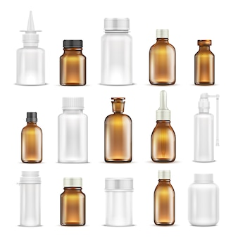 Geneeskundeglas en plastic lege flessen geïsoleerde reeks. flesje medicijnhouder