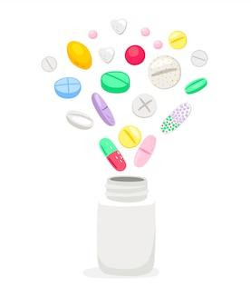 Geneeskundepillen in witte fles