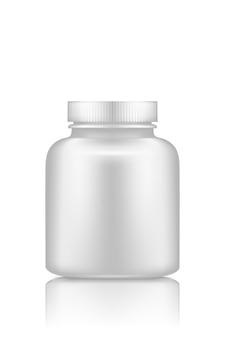Geneeskundepillen of supplement plastic flesmodel dat op witte achtergrond wordt geïsoleerd