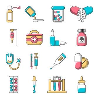 Geneesmiddelen geneeskunde pictogrammen instellen
