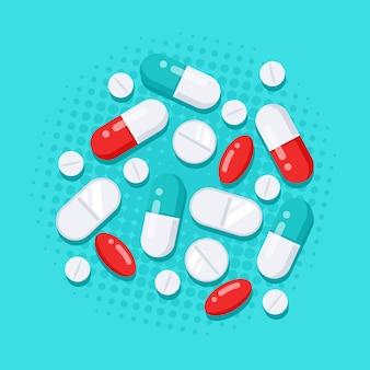 Geneesmiddelen in vlakke stijl. tabletten, capsules, medicijn van pijnstillers, antibiotica, vitamines. Premium Vector