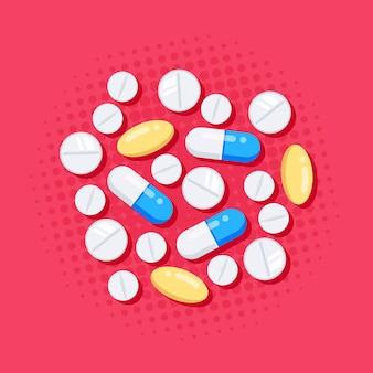 Geneesmiddelen in vlakke stijl. tabletten, capsules, medicijn van pijnstillers, antibiotica, vitamines.