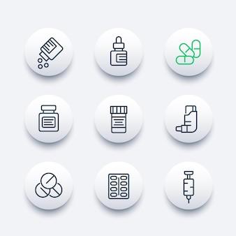 Geneesmiddelen lijn iconen set, farmacie, pillen, medicijnfles, inhalator, spuit