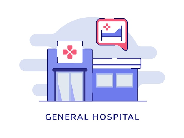 General hospital gebouw geïsoleerd op wit