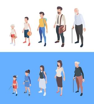 Generaties personen. mannelijke en vrouwelijke personages jongens en meisjes man vrouw moeder vader senioren