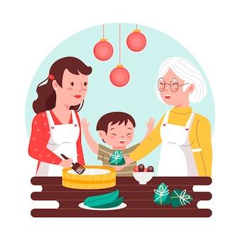 Generaties van familie koken zongzi