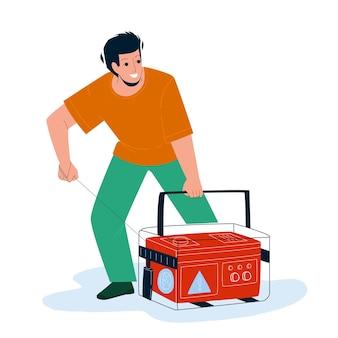 Generator apparatuur starten jonge man vector. noodgenerator machine start boy. karakter autonoom hulpmiddel met benzinemotor die elektriciteit genereert, platte cartoonillustratie