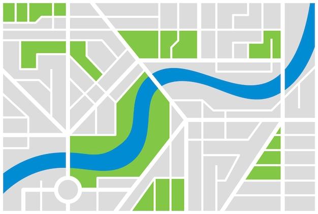 Generieke denkbeeldige stadsplattegrond met rivier. vector kleurrijke stad eps illustratie schema