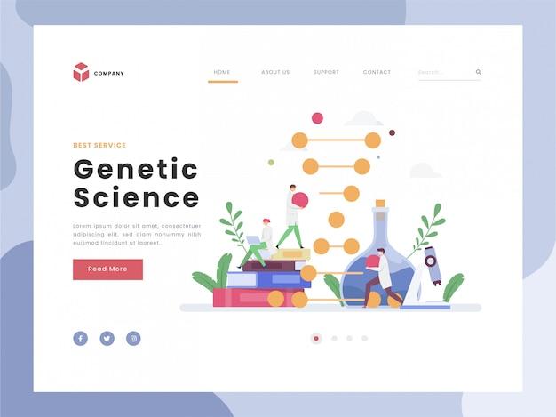 Genetic engineering, flat tiny de wetenschapper verandert delen van de structuur van de dna-ketenbiologie. vlakke stijlen.