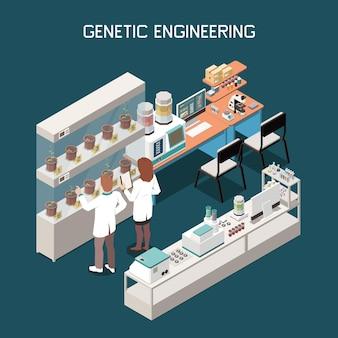 Genetica isometrisch concept met wetenschappers en laboratorium met apparatuurillustratie