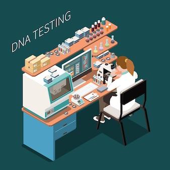 Genetica isometrische samenstelling met illustratie van laboratoriumapparatuur